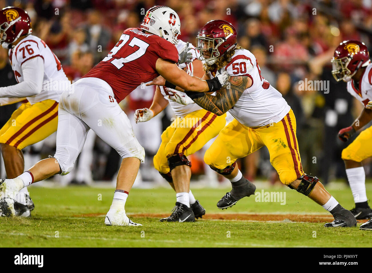 Stanford, California, USA. 08th Sep, 2018. USC Trojans center Toa Lobendahn (50) pass blocks during the NCAA football game between the USC Trojans and the Stanford Cardinal at Stanford Stadium in Stanford, California. Chris Brown/CSM/Alamy Live News - Stock Image