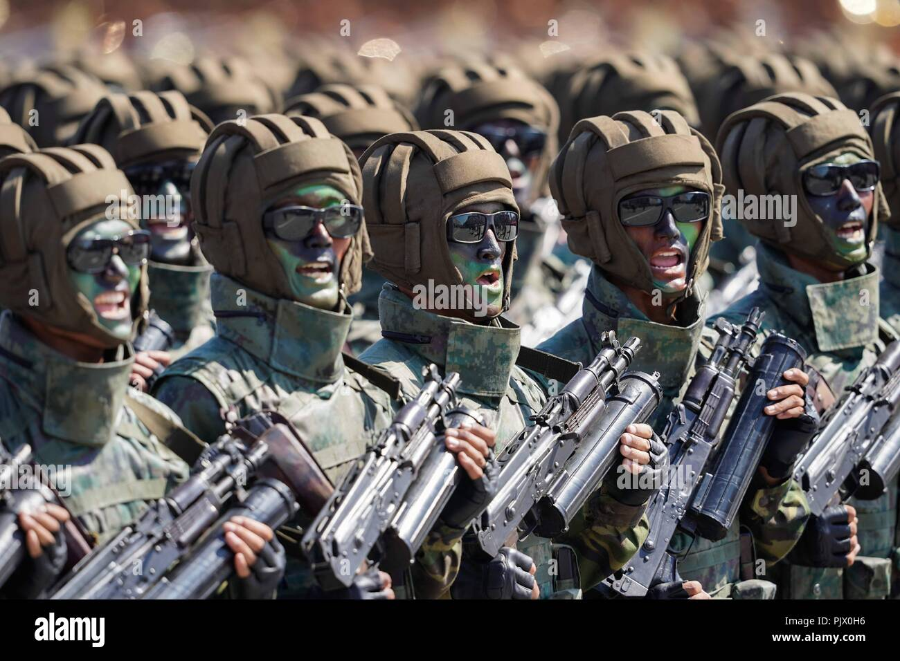 Pyongyang, DPRK. 9th Sep, 2018. Soldiers march during a parade to celebrate the 70th anniversary of the founding of the Democratic People's Republic of Korea (DPRK) in Pyongyang, DPRK, on Sept. 9, 2018. Credit: Xing Guangli/Xinhua/Alamy Live News - Stock Image