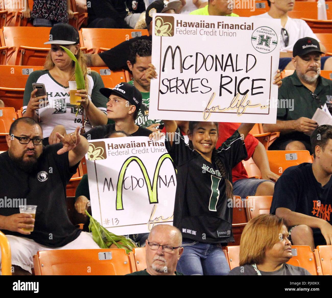 Honolulu, Hawaii. September 8, 2018 - Fans show a sense of humor during a game between the Hawaii Rainbow Warriors and the Rice Owls at Aloha Stadium in Honolulu, HI - Michael Sullivan/CSM Credit: Cal Sport Media/Alamy Live News Stock Photo