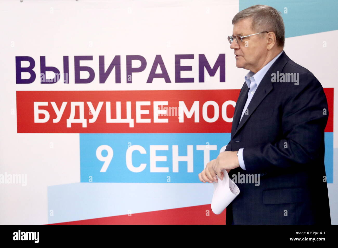 Moscow, Russia. 09th Sep, 2018. MOSCOW, RUSSIA - SEPTEMBER 9, 2018: Russian Prosecutor General Yuri Chaika at a polling station on Single Voting Day. Russia elects the heads of 26 regions, members of the legislative assemblies of 17 regions and 7 State Duma members. Valery Sharifulin/TASS Credit: ITAR-TASS News Agency/Alamy Live News Stock Photo