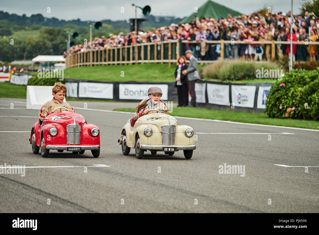 Chichester, West Sussex, UK, 9th September 2018. Pedal car race, during the Goodwood Revival at Goodwood Motor Circuit. Photo by Gergo Toth / Alamy Live News - Stock Image