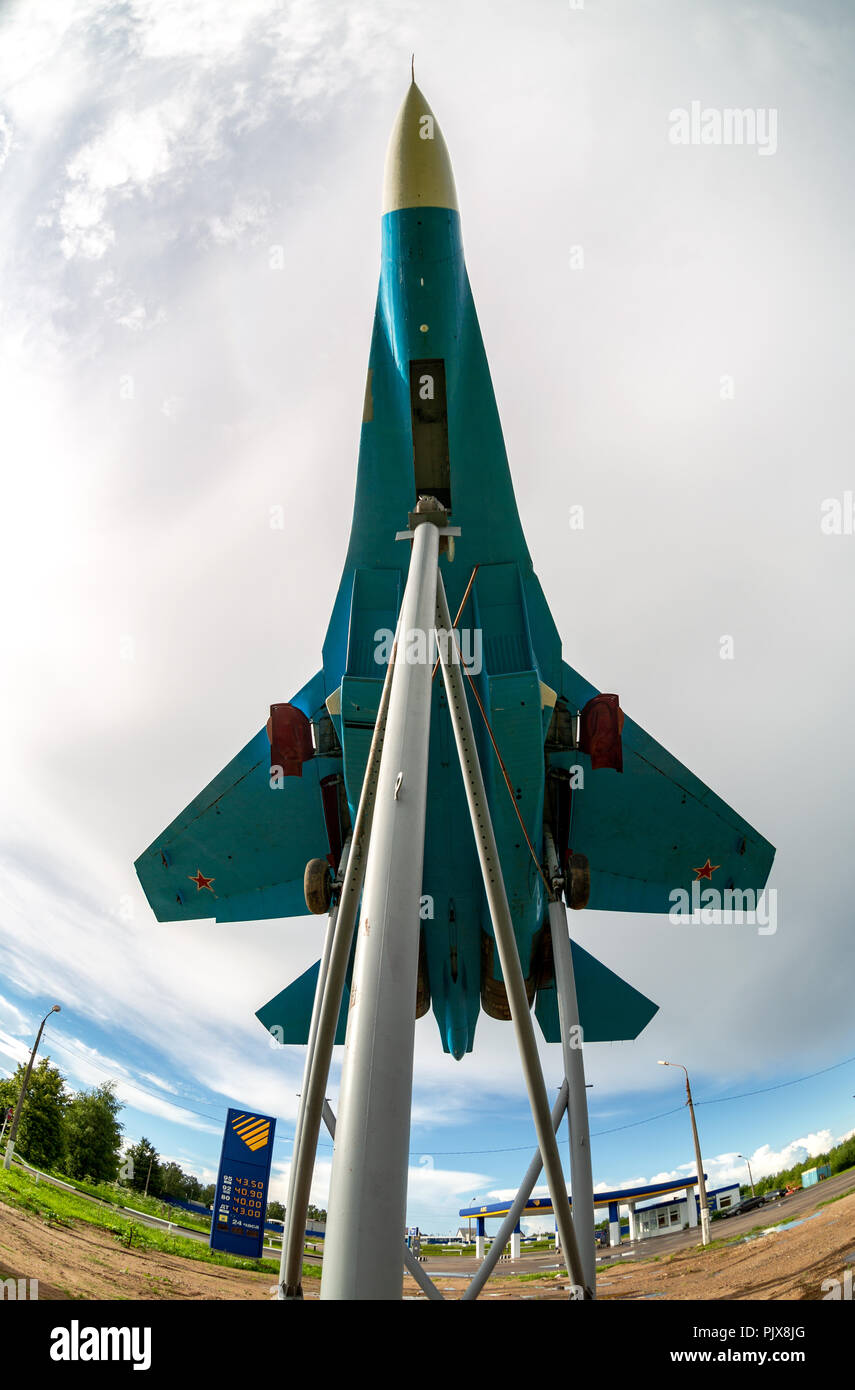 Bologoe, Russia - July 8, 2017: Russian fighter SU-27 as monument against the cloudy sky - Stock Image