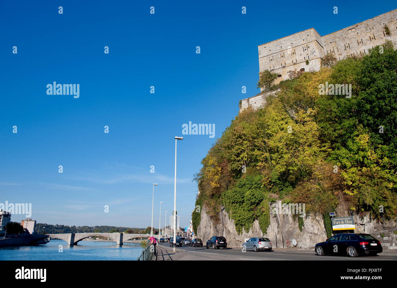 Panoramic view over the Walloon municipality Huy along the Meuse river (Belgium, 29/09/2011) Stock Photo