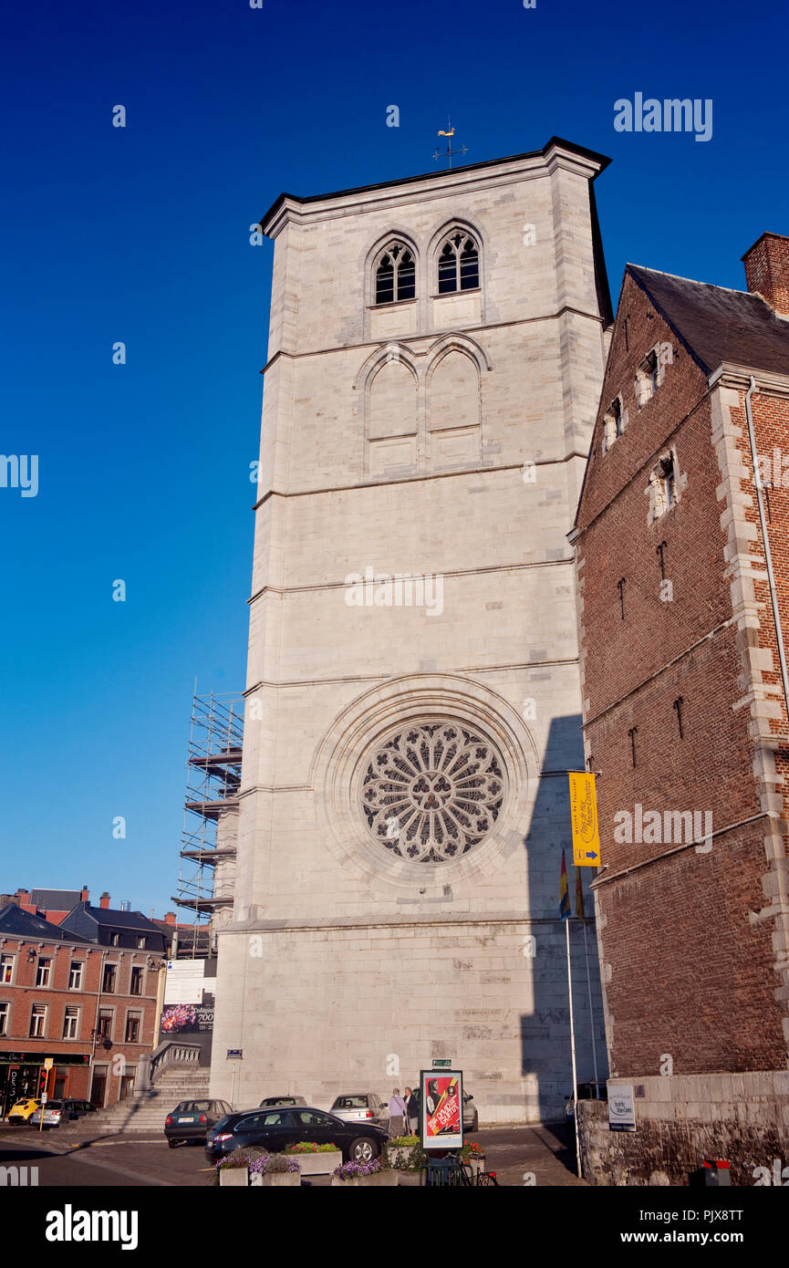 The 14th Century Collegial Notre-Dame of Huy church in Huy (Belgium, 29/09/2011) Stock Photo