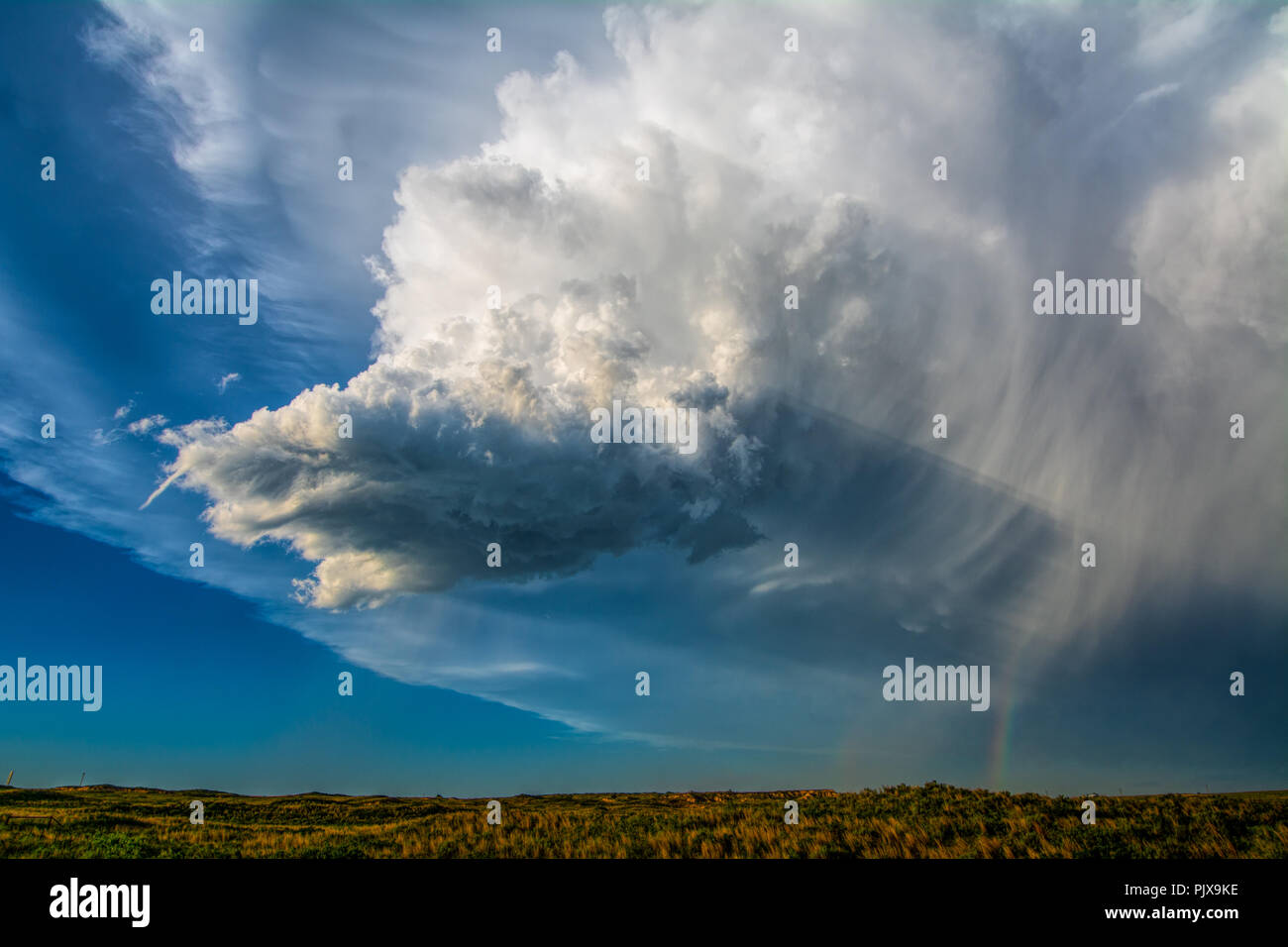 Tiny, low-precipitation supercell storm spins produces skinny funnel near Mobeetie, Texas - Stock Image