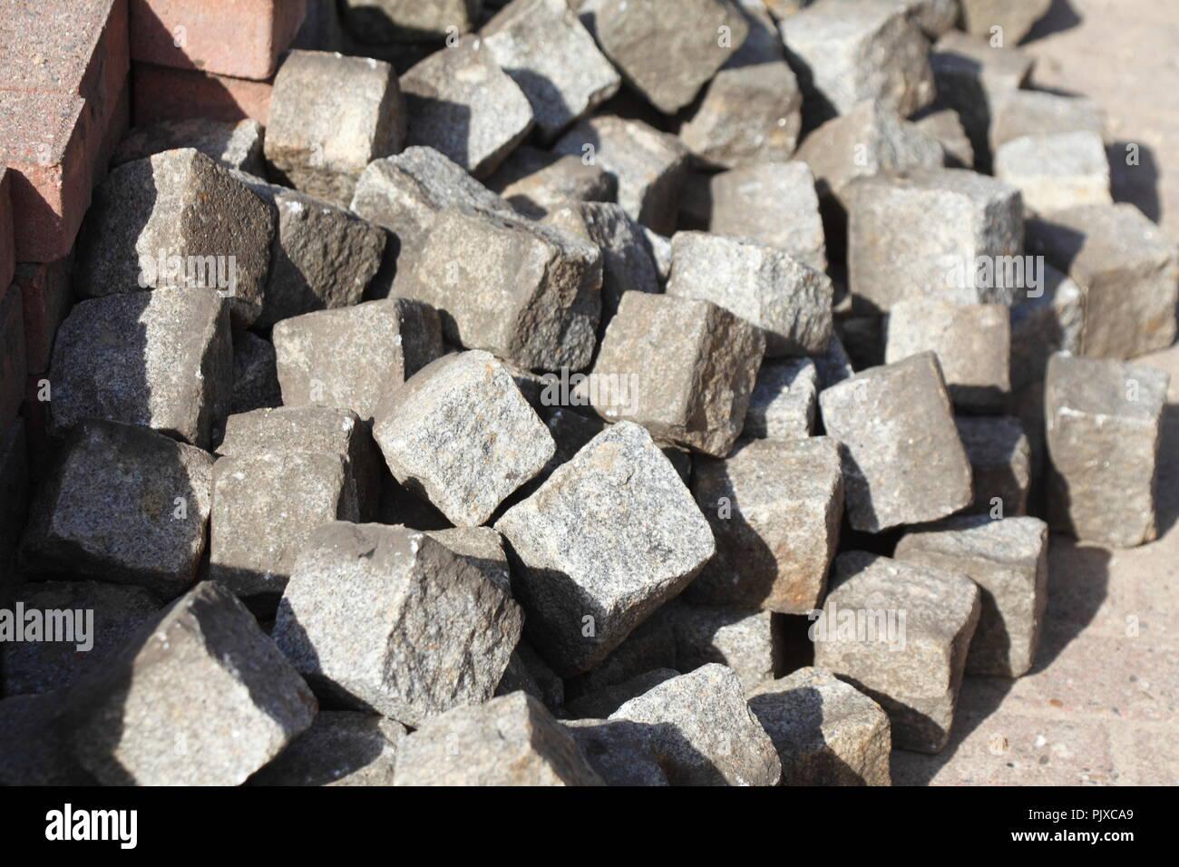 Paving stones, roadworks, background - Stock Image