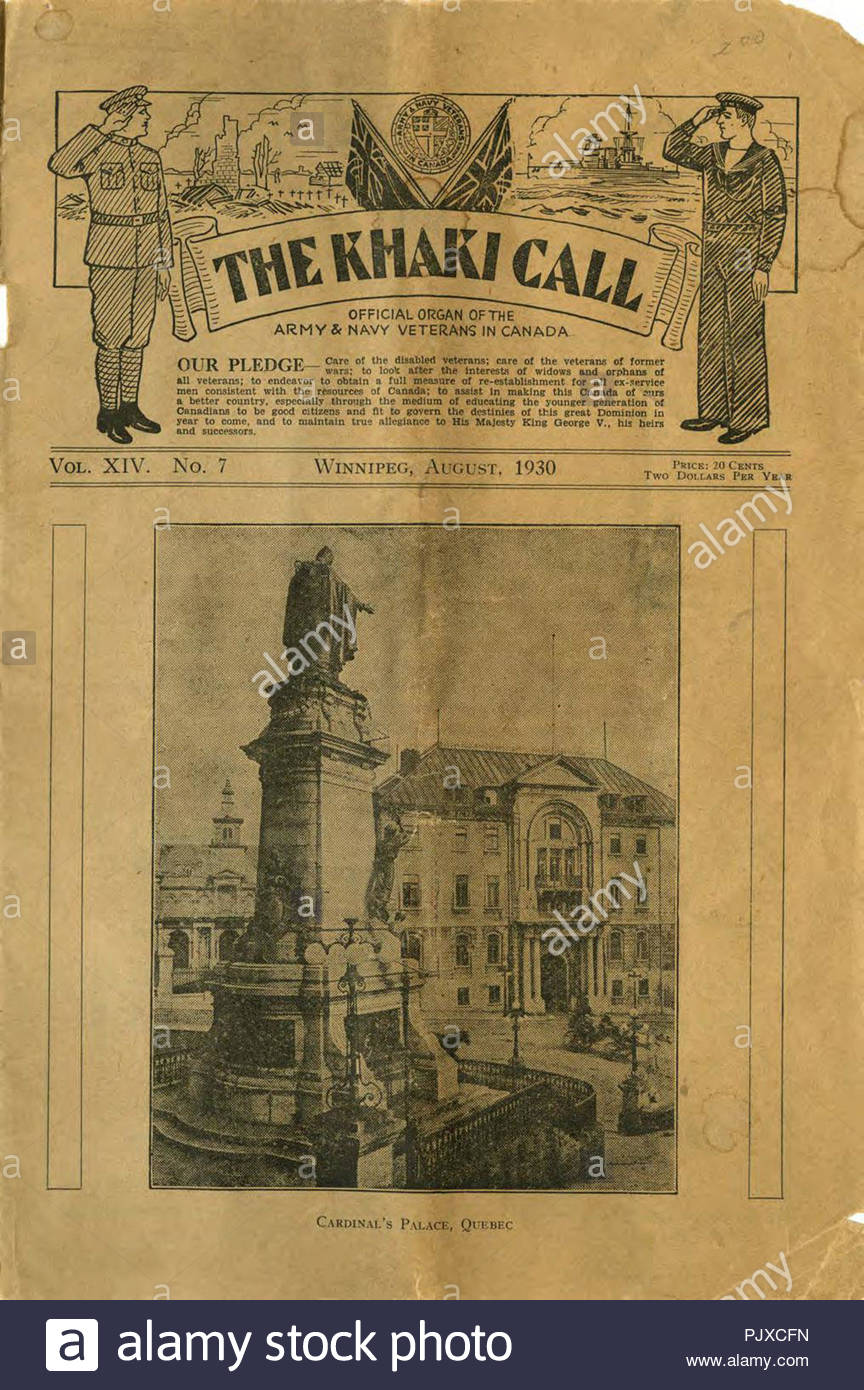 The khaki call -  Canadian military newspaper from 1930 - Stock Image