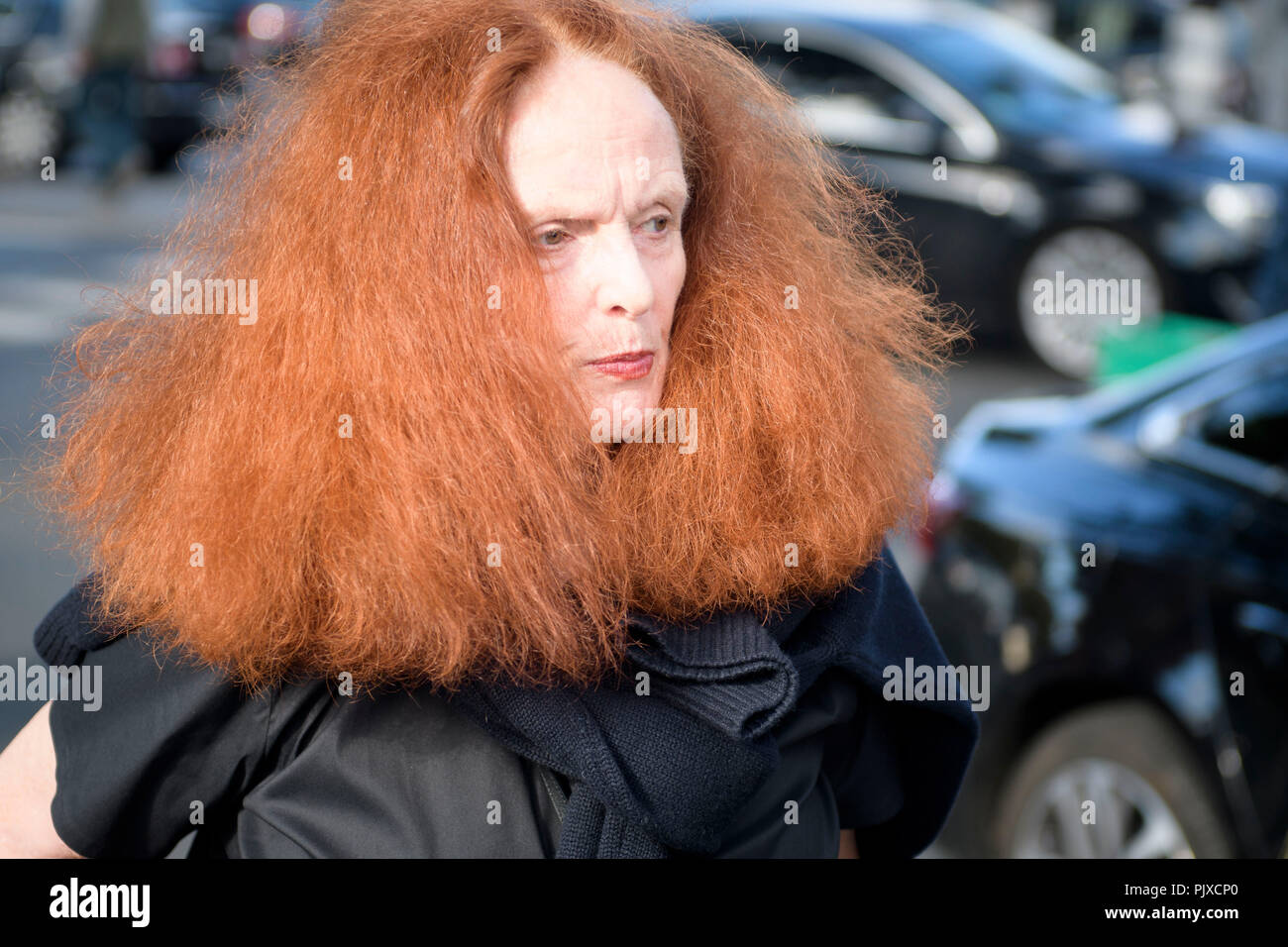 Former model and the creative director at large of American Vogue magazine Grace Coddington arrives on Day Six for Paris Fashion Week Spring/Summer 2017 Collection shows on October 02, 2016, in Paris, France. © Hugh Peterswald/Alamy Live News - Stock Image