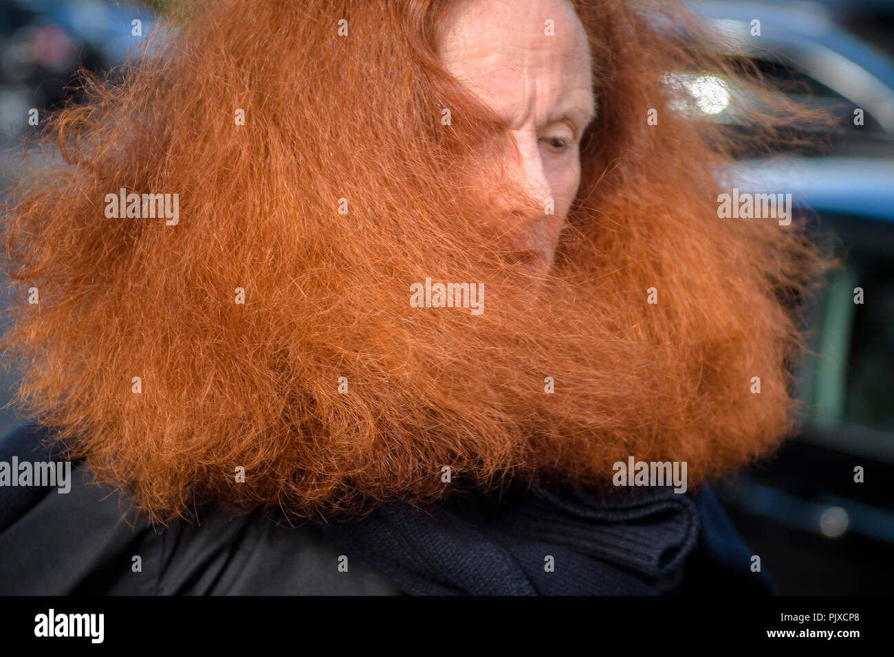 Former model and the creative director at large of American Vogue magazine Grace Coddington arrives on Day Six for Paris Fashion Week Spring/Summer 2017 Collection shows on October 02, 2016, in Paris, France. - Stock Image