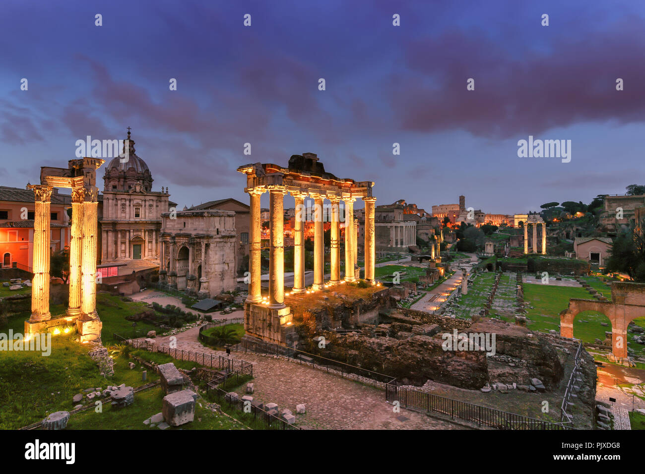 Ruins of Roman's forum at night in Rome, Italy. - Stock Image