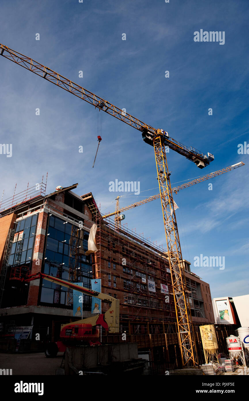 Construction works in Louvain-La-Neuve (Belgium, 02/03/2011) Stock Photo