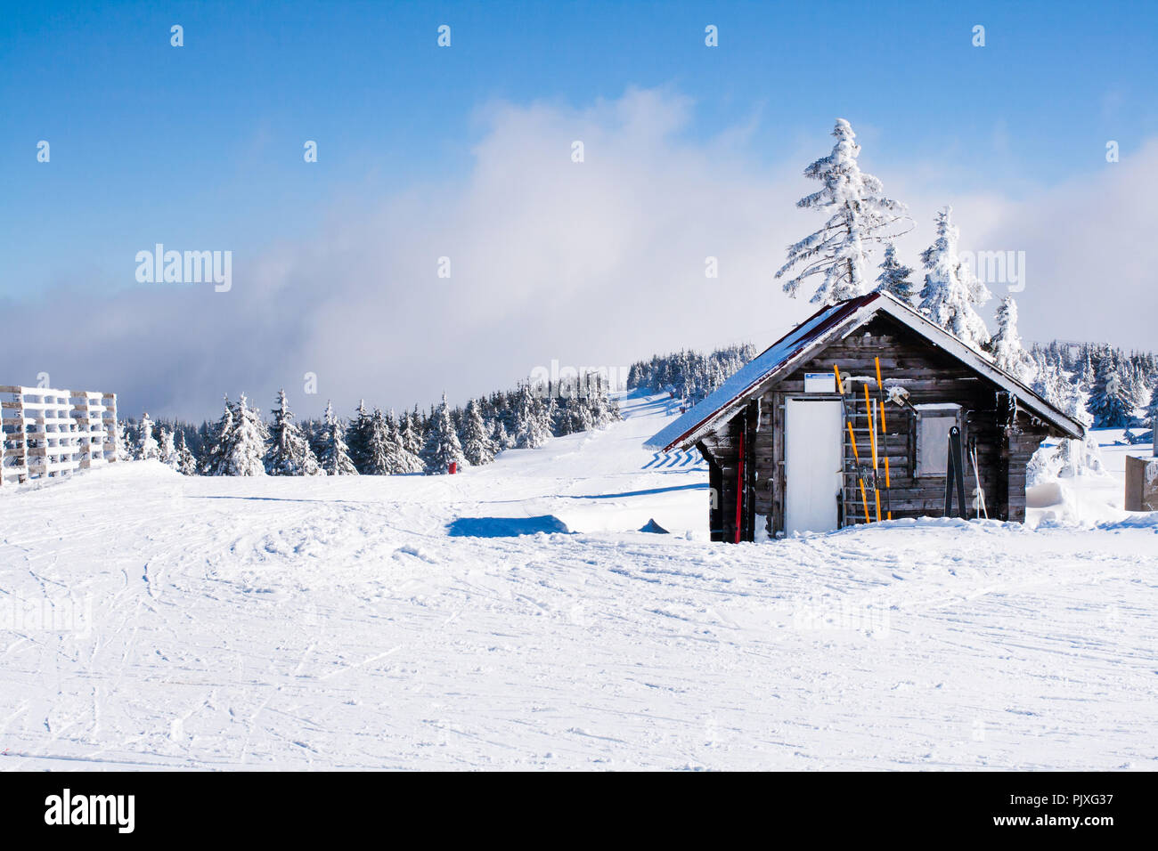 Vacation Rural Winter Background Landscape With Small Wooden Alpine