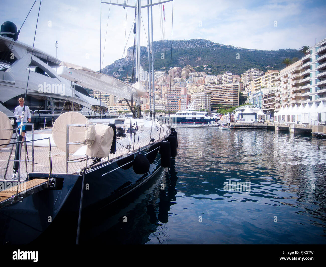 Yacht 'Crossbow' (32m) pictured in Port Hercules in the lead-up to the 26th Monaco Yacht Show with some 125 of the most desirable luxury Motor Yachts from around the world on display on September 24, 2016, in Monaco, Principality of Monaco. (Photo by Hugh Peterswald) - Stock Image