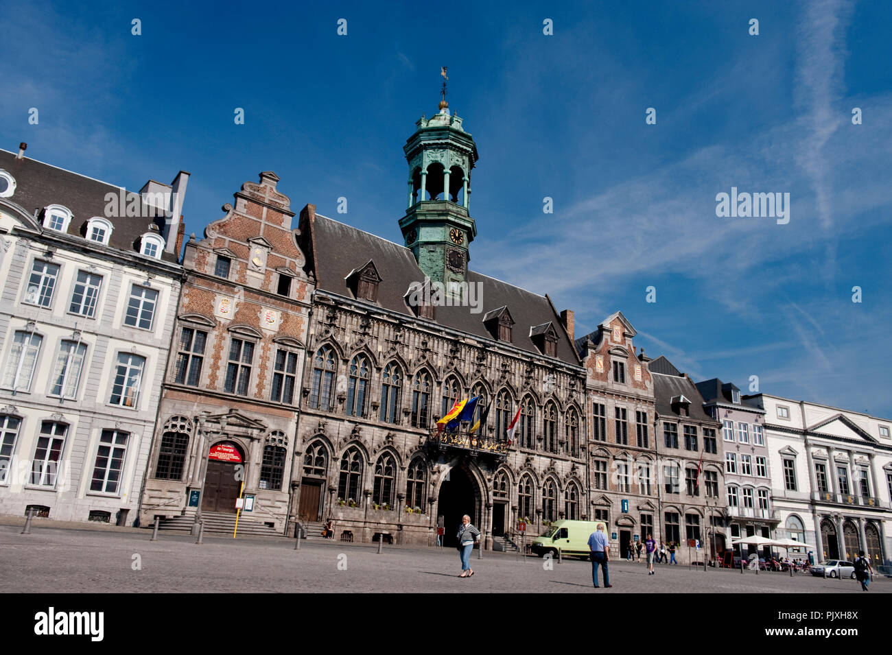The 15th Century Town Hall of Mons, originally conceived by Mathieu de Layens (Belgium, 26/04/2011) - Stock Image