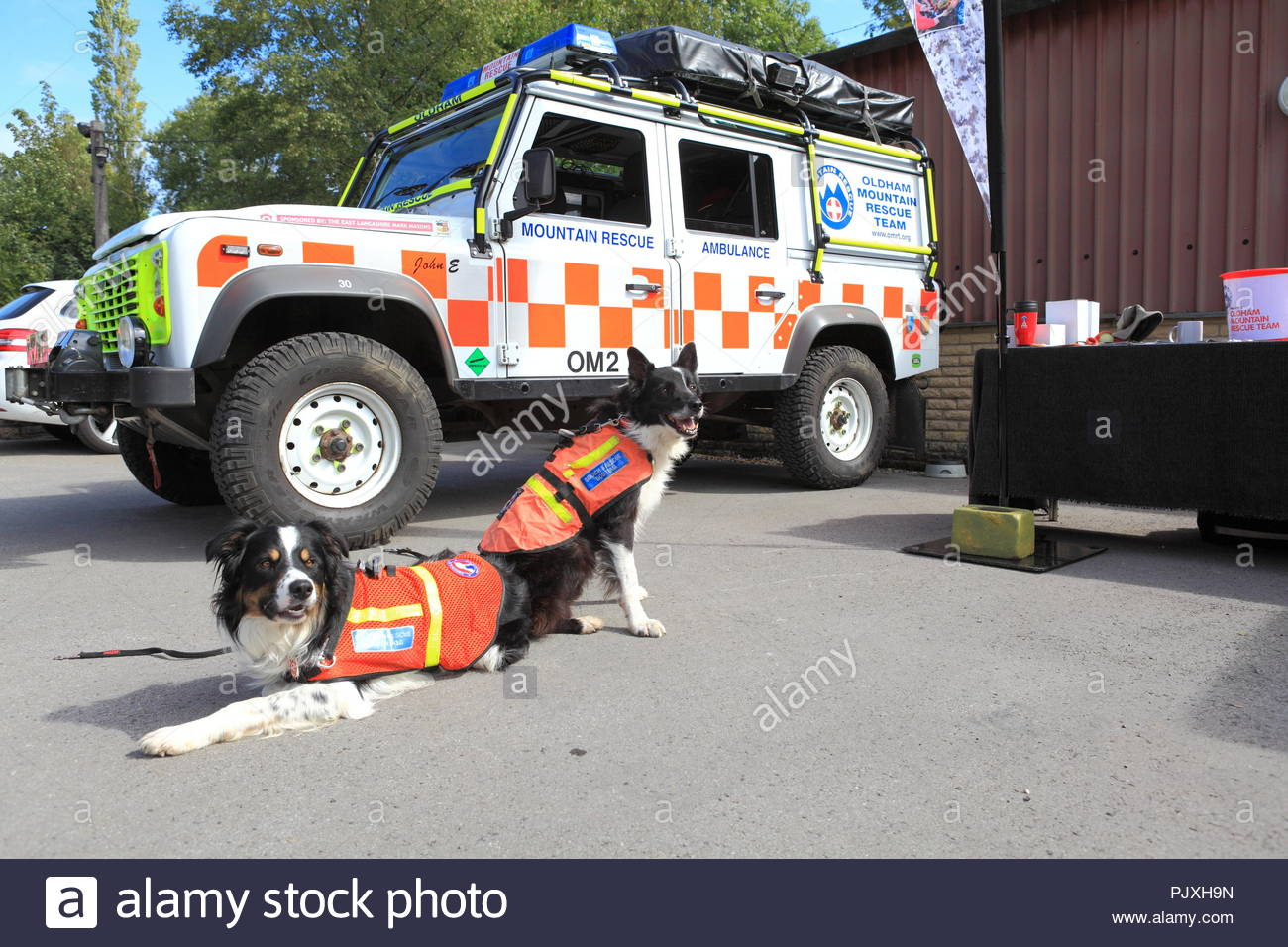 The Oldham Mountain & Rescue Team fundraising at a local dog show at Greenfield, Oldham Uk. September 2018 - Stock Image
