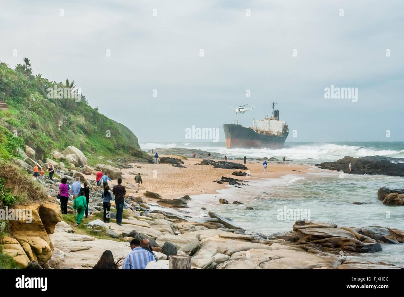 The Phoenix, a derelict bulk tanker, run aground on Sheffield Beach on Durban's North Coast - Stock Image