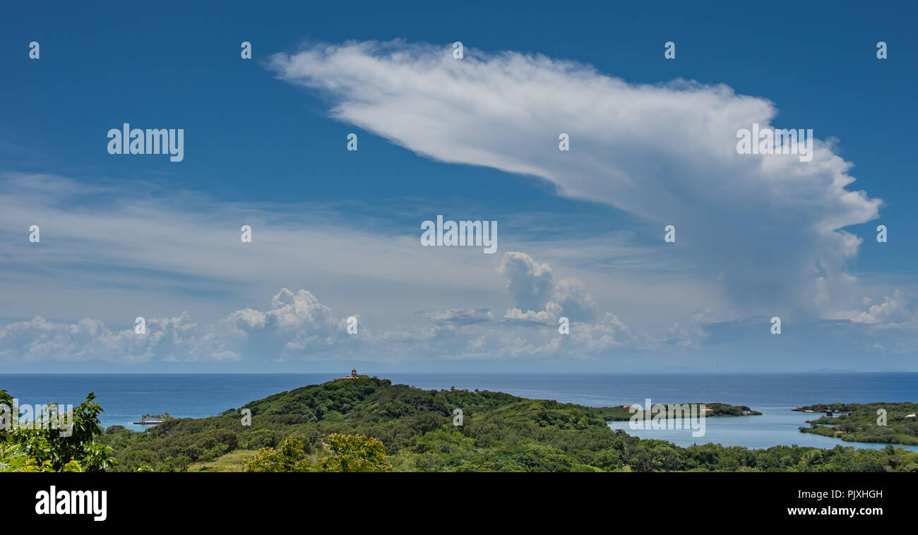 Cumulonimbus Anvil Cloud Off Caribbean Island - Stock Image