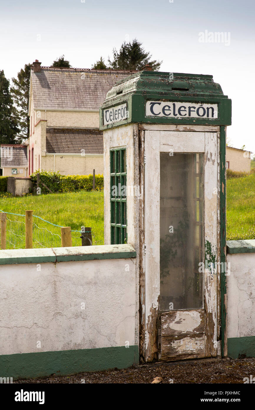 Ireland, Co Leitrim, Aghacashel village, redundant 1930s telephone box - Stock Image