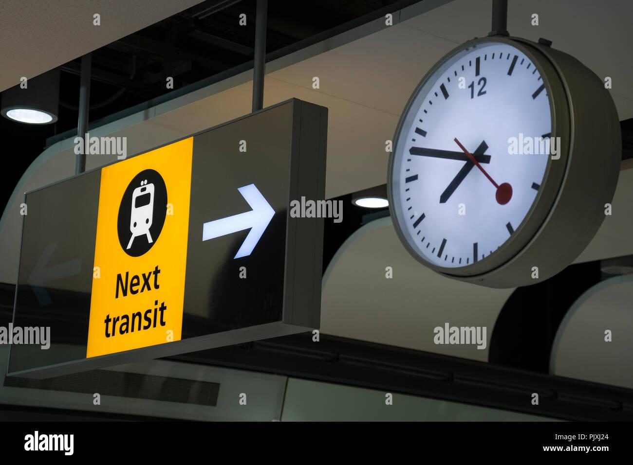Airport transit shuttle signage,Heathrow,London,England - Stock Image