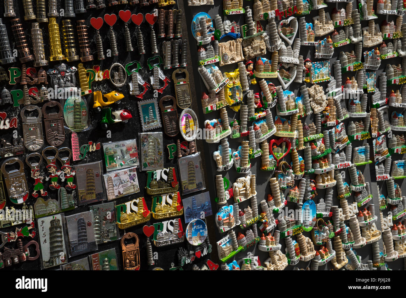 Tourist fridge magnets and souvenirs on sale in Piza,Tuscany Italy - Stock Image