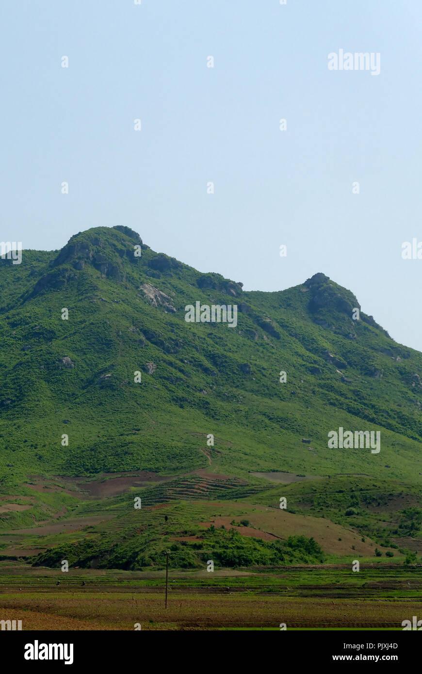 Craggy peaks of a mountain ridge, North Korea - Stock Image