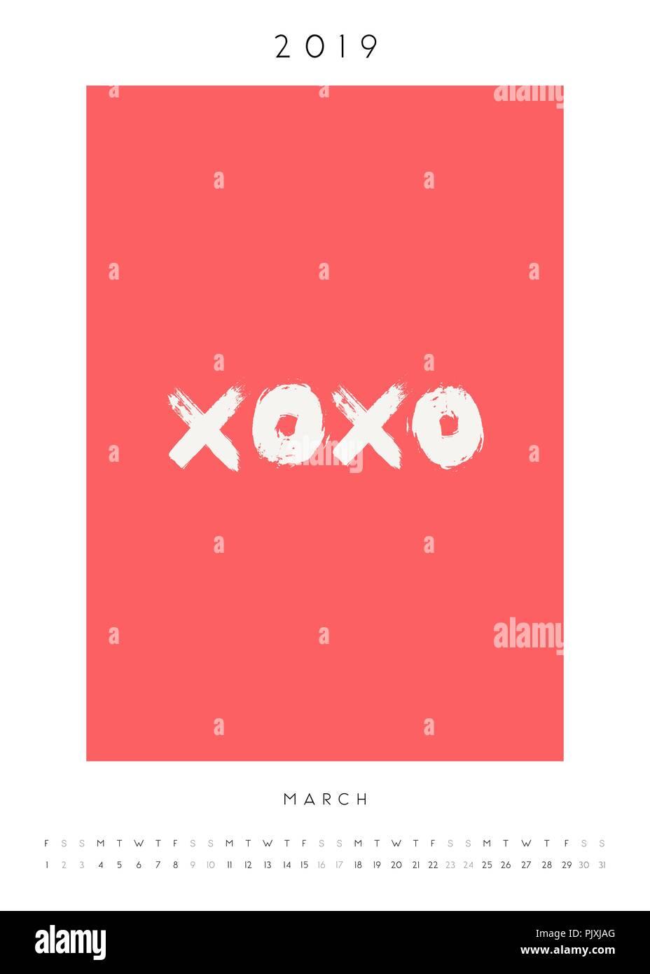 Printable A4 Size March 2019 Calendar Template Hand Drawn Symbols