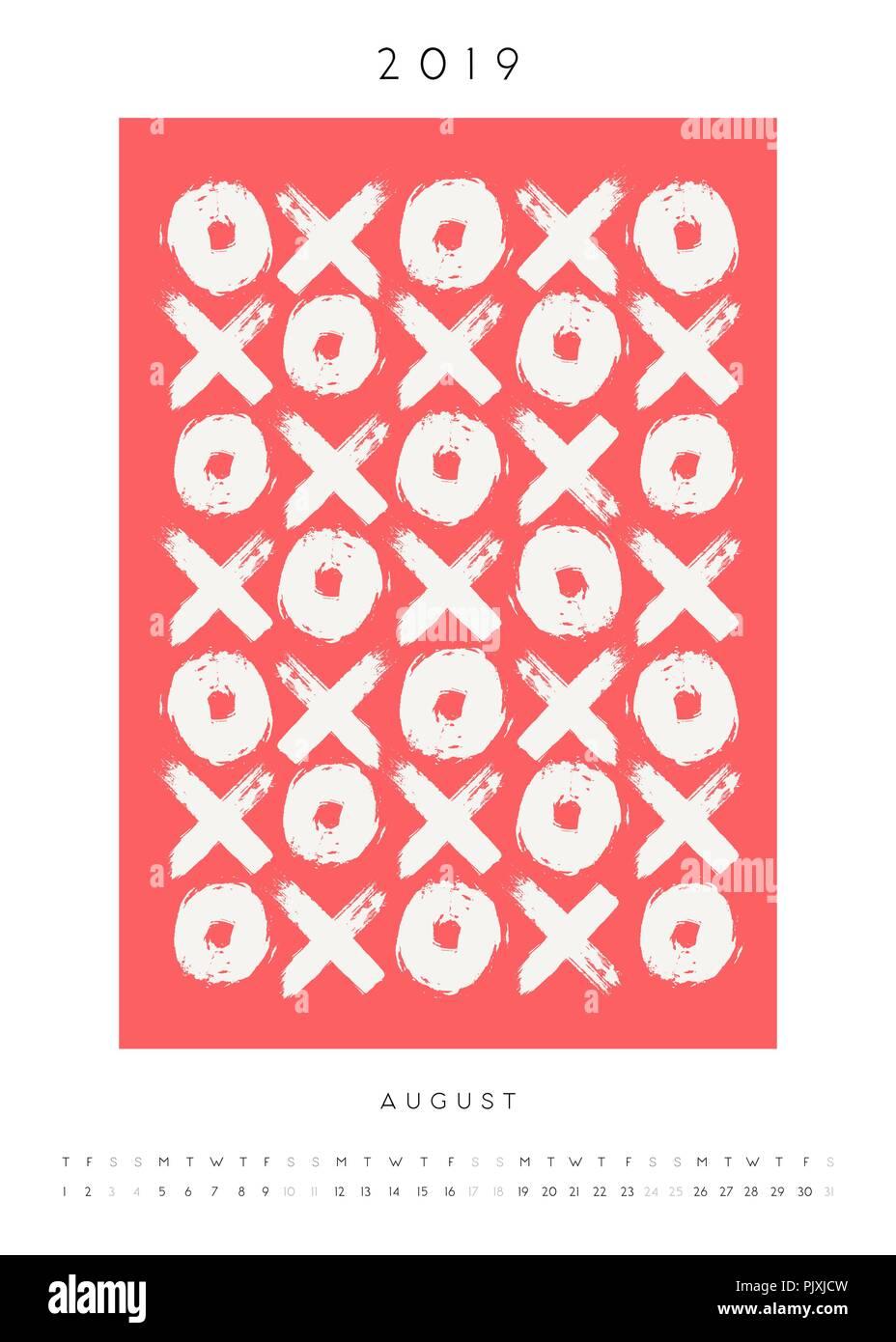 Printable A4 Size August 2019 Calendar Template Hand Drawn Symbols