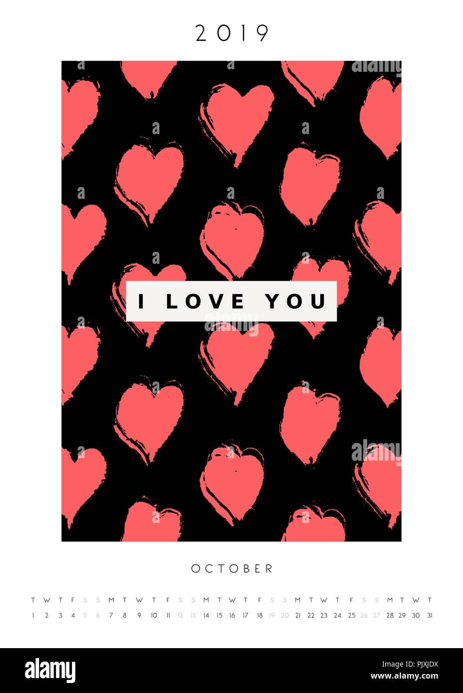 printable a4 size october 2019 calendar template hand drawn hearts