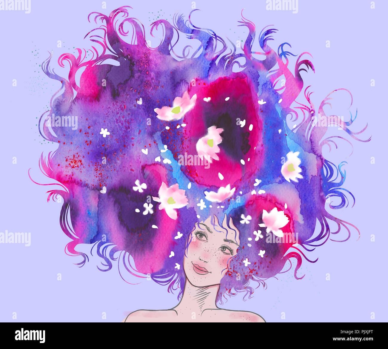 Illustration of a girl with a violet hair and white flowers - Stock Image