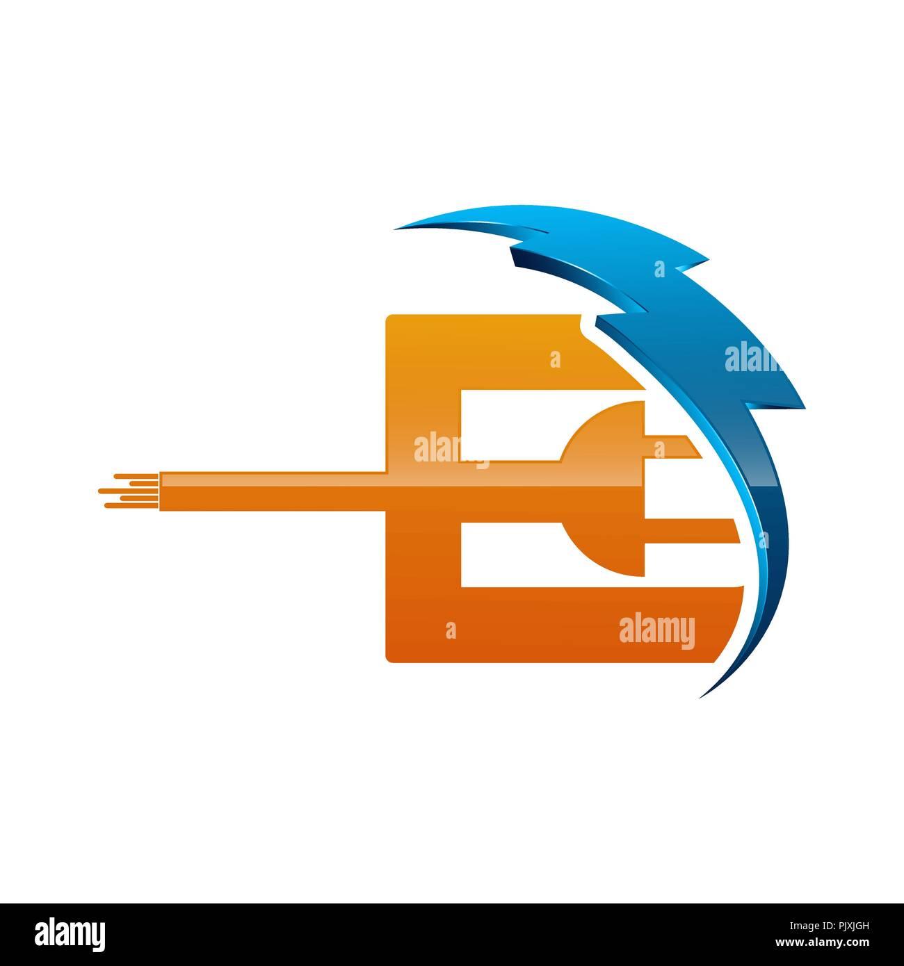 Initial letter E logo template colored blue and orange