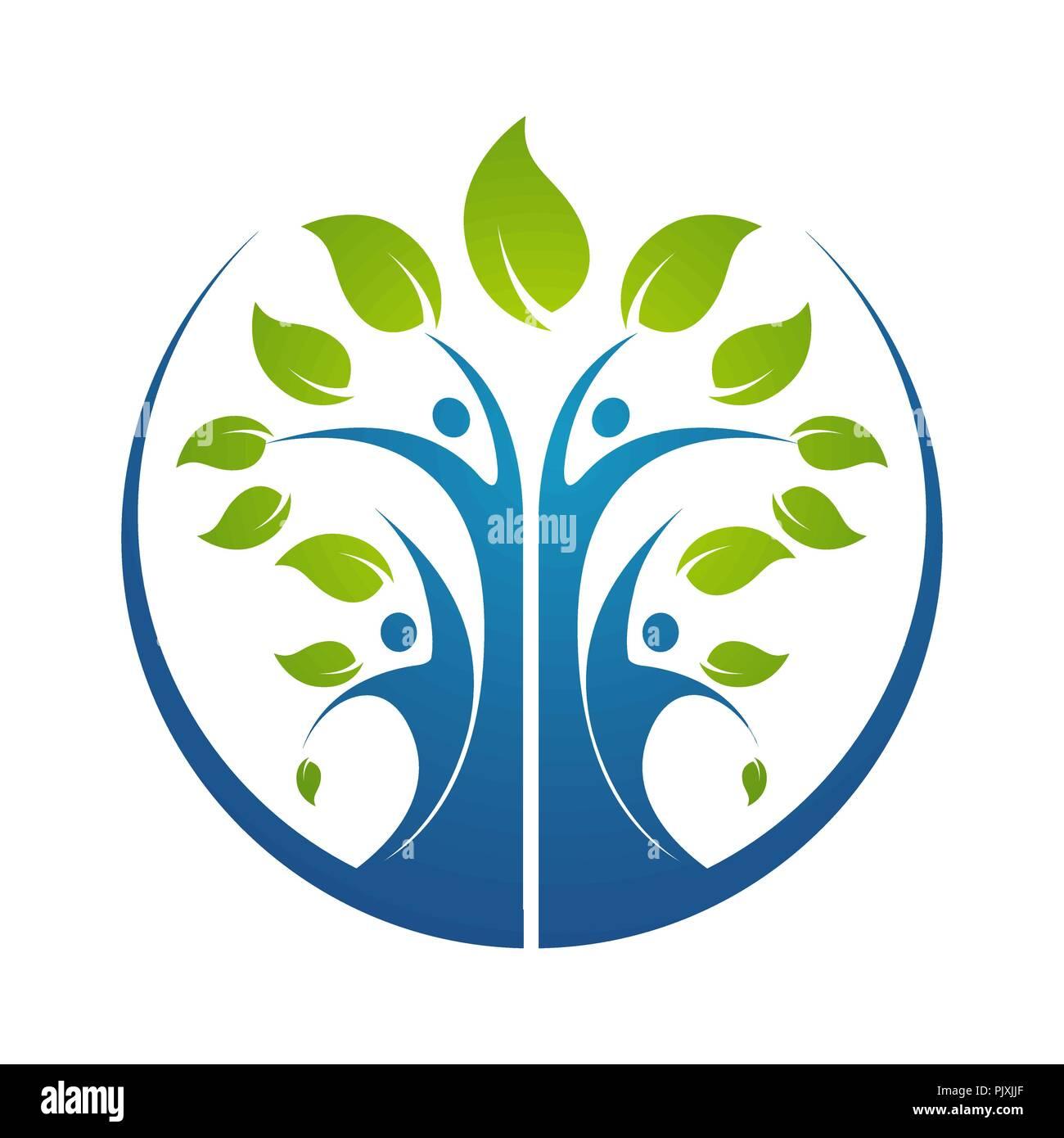 Family Tree Symbol Icon Logo Design Template Illustration Stock