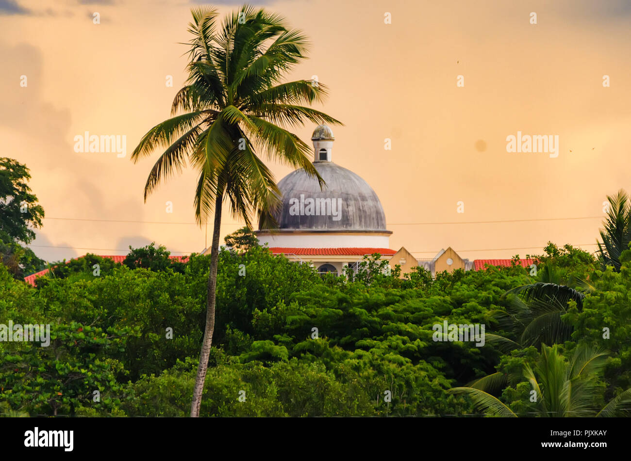 Sunset skyscape of Dominican republic with rooftop and plam trees - Stock Image