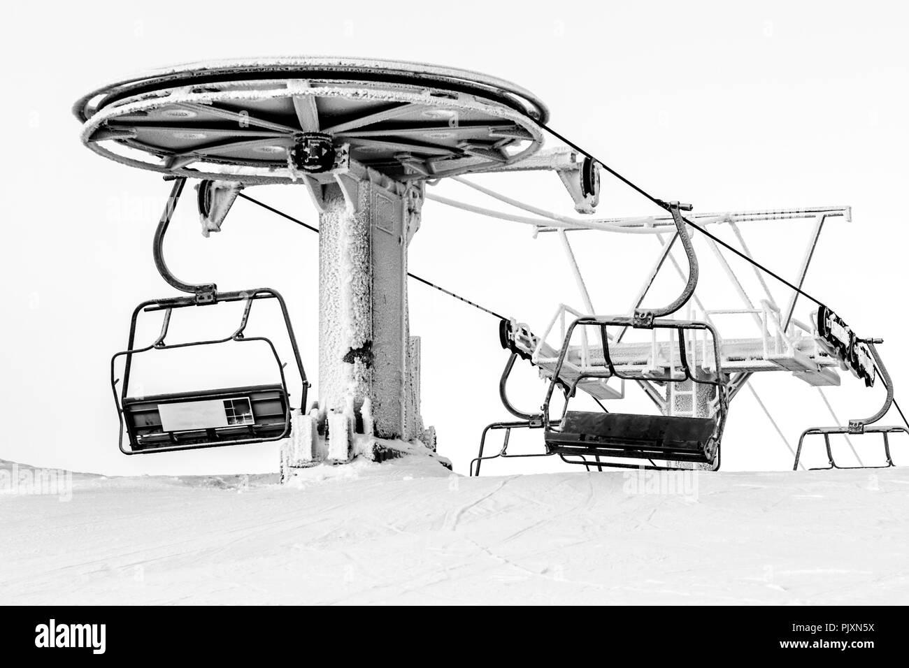 Ski Lift In Freezing Day Ruka Ski Resort Finland Stock Photo Alamy