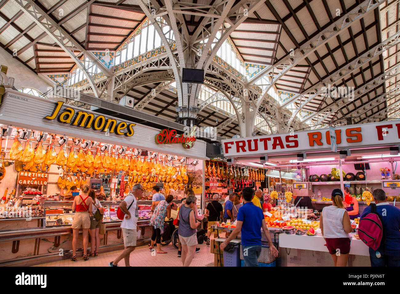 Mercat Central, the central market in Valencia city, Spain - Stock Image