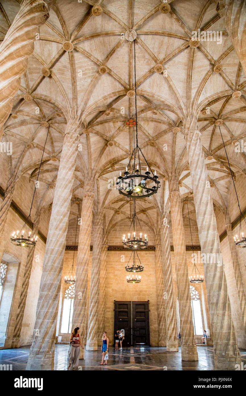 La Lonja de la Seda, a grand gothic medieval mercantile exchange hall in Valencia city centre, Spain Stock Photo