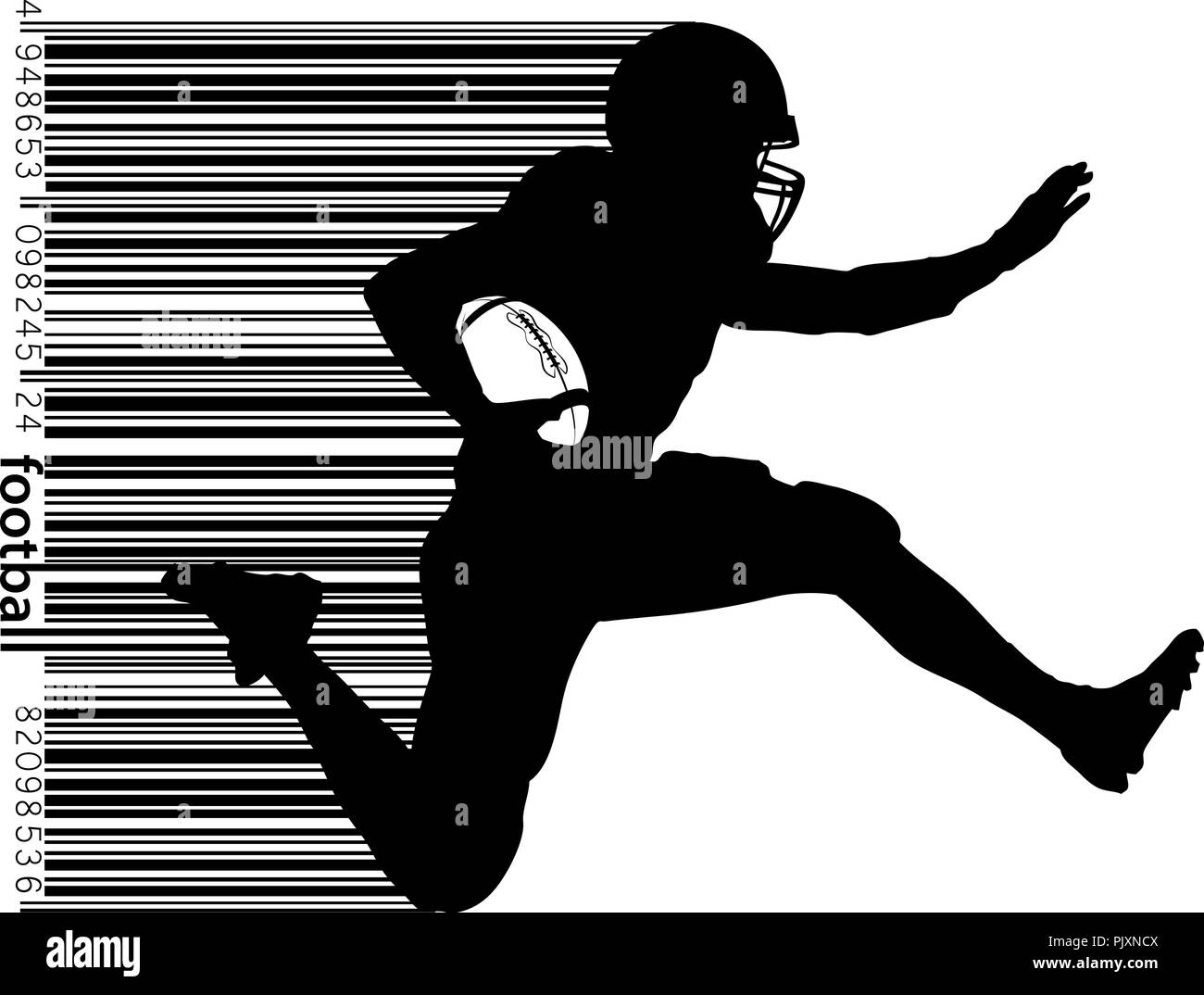 silhouette of a football player. Set. Background and text on a separate layer, color can be changed in one click. Rugby. American football. Vector ill - Stock Image