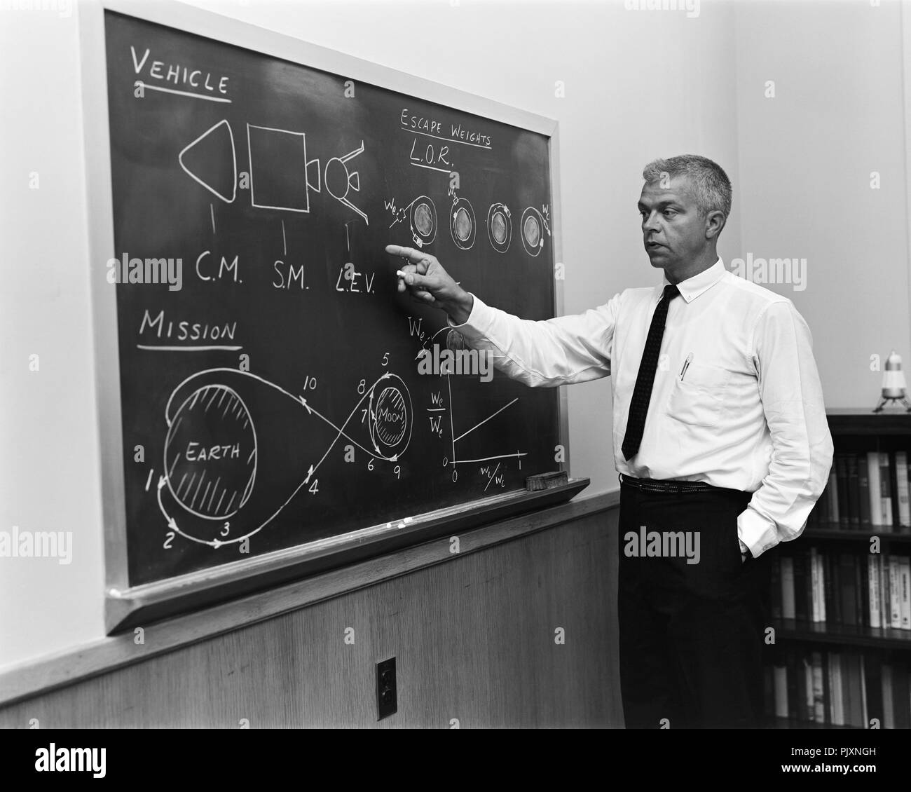 Langley Research Center, VA - (FILE) -- John C. Houbolt at blackboard, showing his space rendezvous concept for lunar landings on July 24, 1962. Lunar Orbital Rendezvous (LOR) would be used in the Apollo program. Although Houbolt did not invent the idea of LOR, he was the person most responsible for pushing it at NASA. Credit: Bob Nye - NASA via CNP /MediaPunch - Stock Image