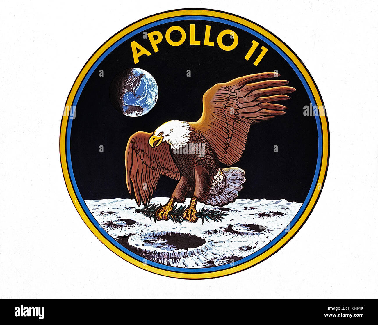 Houston, TX - (FILE) -- The official emblem of Apollo 11, the United States' first scheduled lunar landing mission unveiled on May 1, 1969. The Apollo 11 crew comprised astronauts Neil A. Armstrong, commander; Michael Collins, command module pilot; and Edwin E. Aldrin, Jr., lunar module pilot. It launched from the Kennedy Space Center in Florida on July 16, 1969.  Lunar landing on July 20, 1969. The crew ended on July 24, 1969. The National Aeronautics and Space Administration (NASA) insignia design for Apollo flights is reserved for use by the astronauts and for the official use as the NASA A Stock Photo