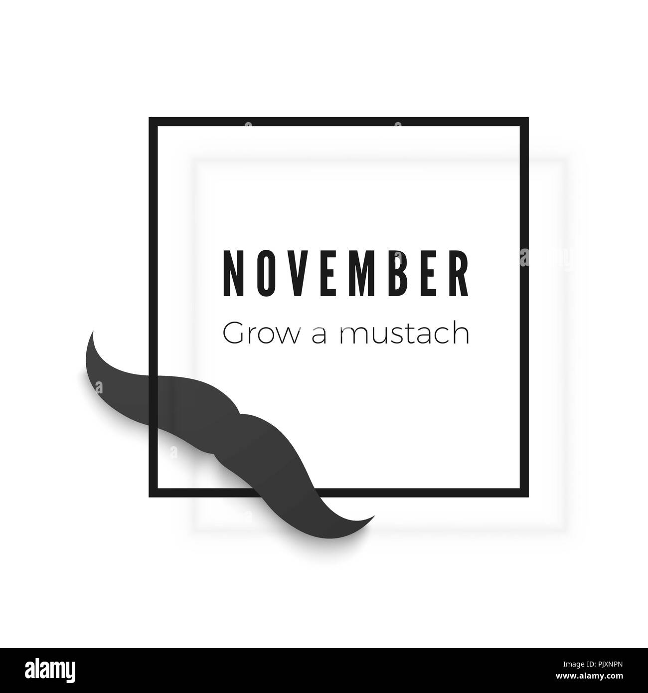 Mustache season. mustache mask and frame with text. Vector illustration - Stock Image