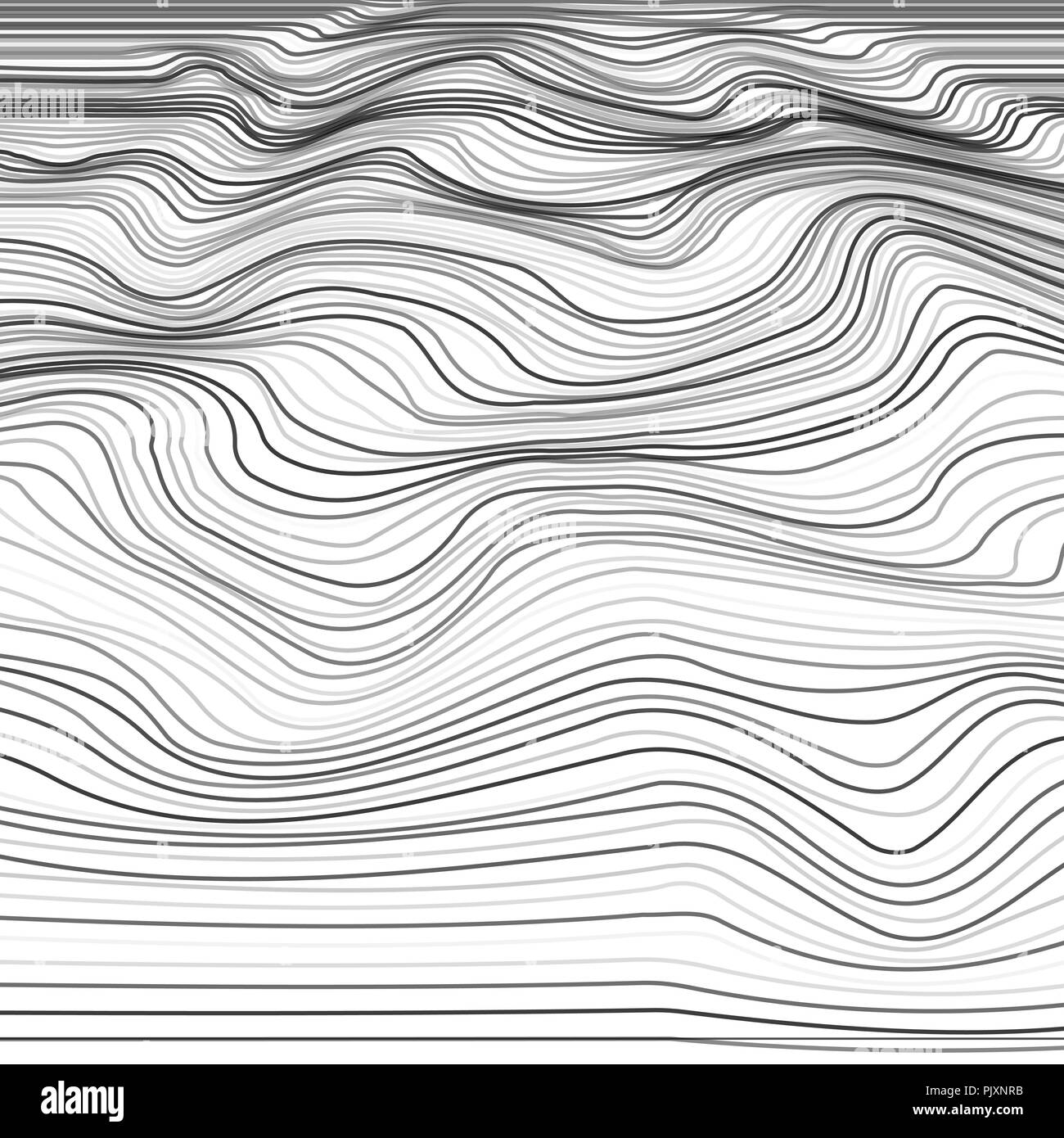 Stripe deformation background. Distorted wave monochrome texture. Abstract dynamical rippled surface from line. Vector illustration - Stock Image
