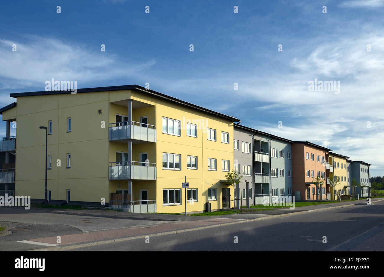 Environmental documentary of coastal lifestyle. Here a Swedish home in summer with blue sky.. - Stock Image