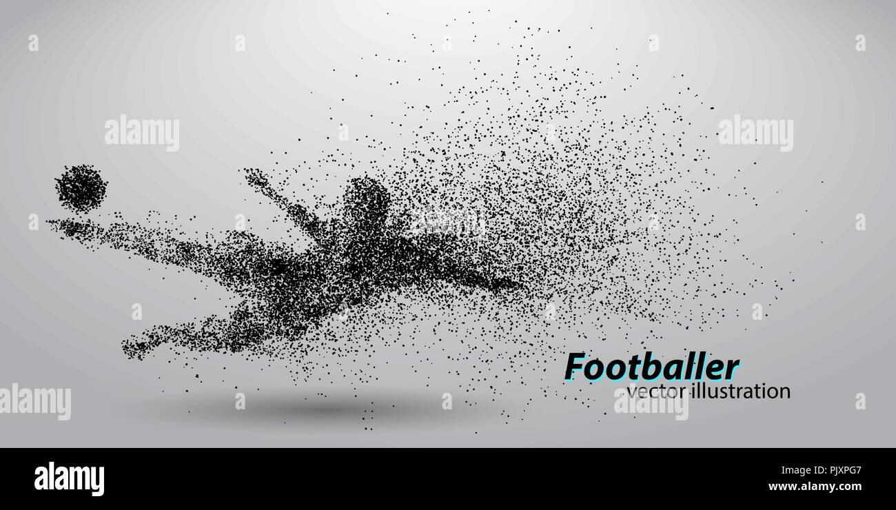 silhouette of a football player from particles - Stock Image
