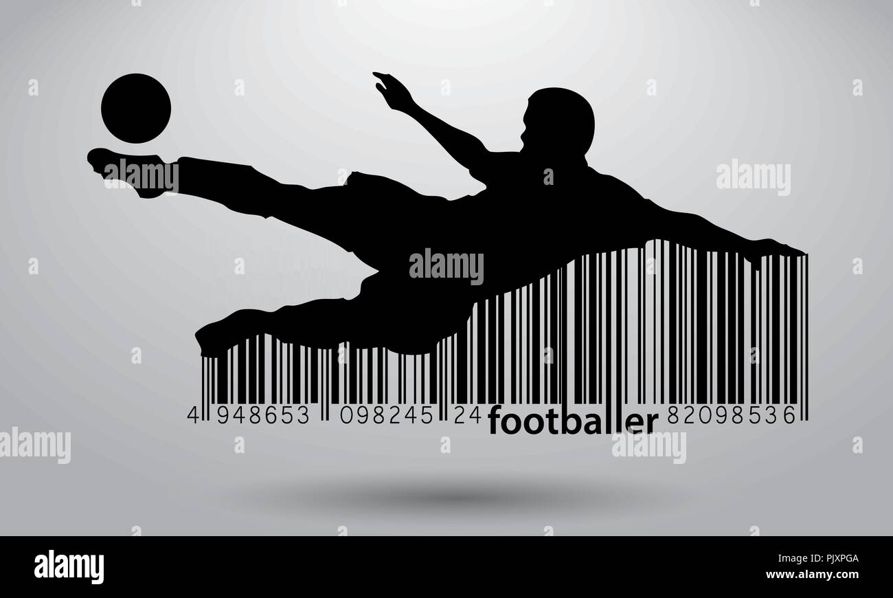 silhouette of a football player and barcode - Stock Vector
