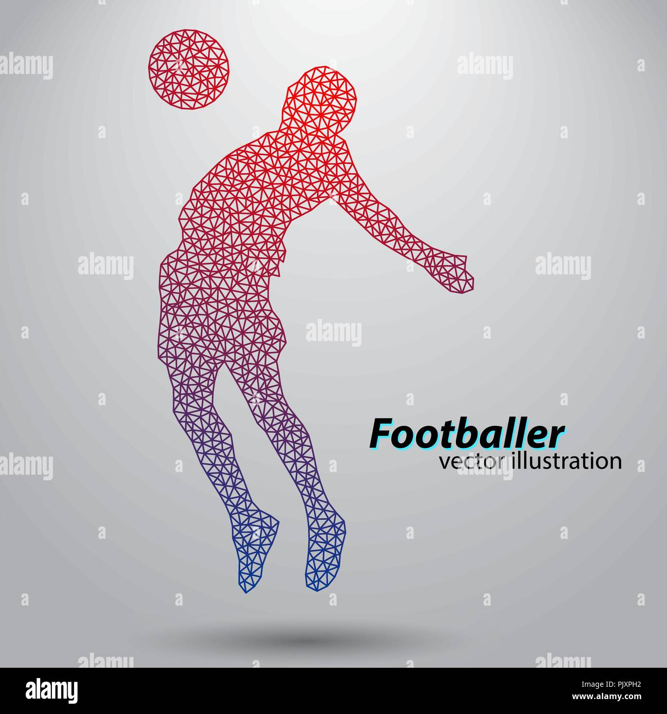 silhouette of a football player from triangles - Stock Vector