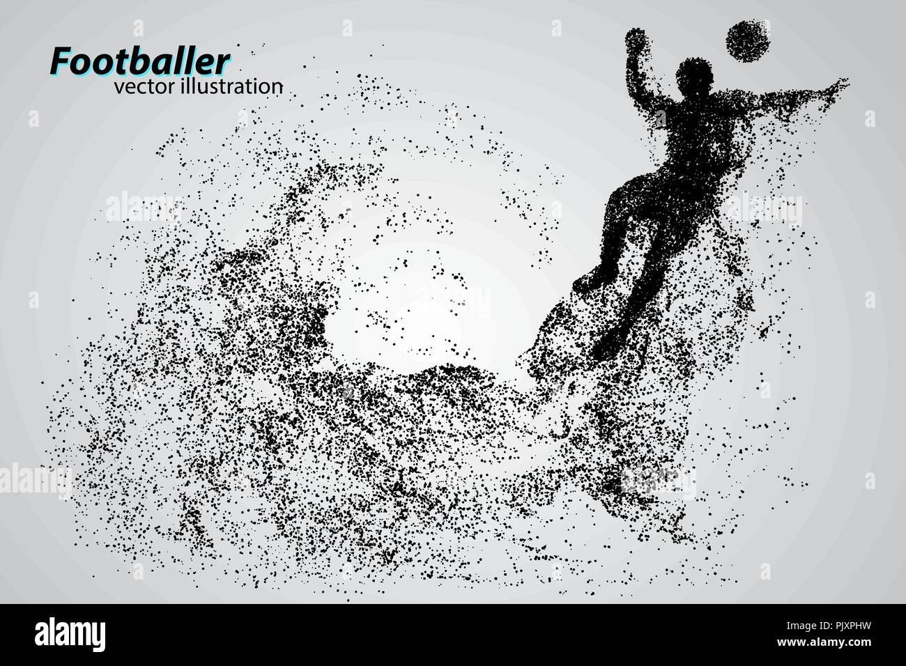 silhouette of a football player from particles Stock Vector