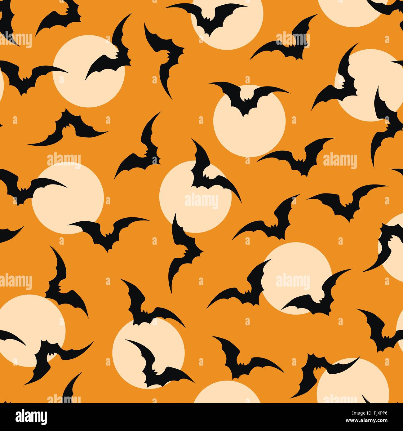 bat ornage halloween background vector - Stock Image