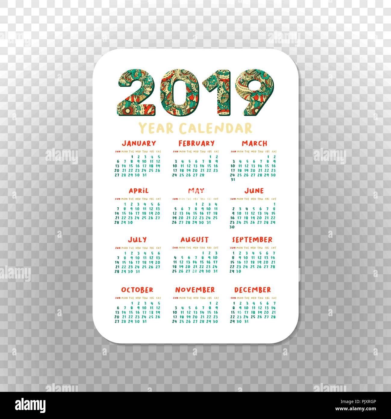 2019 Pocket Calendar Basic Grid. Vector Vertical ...