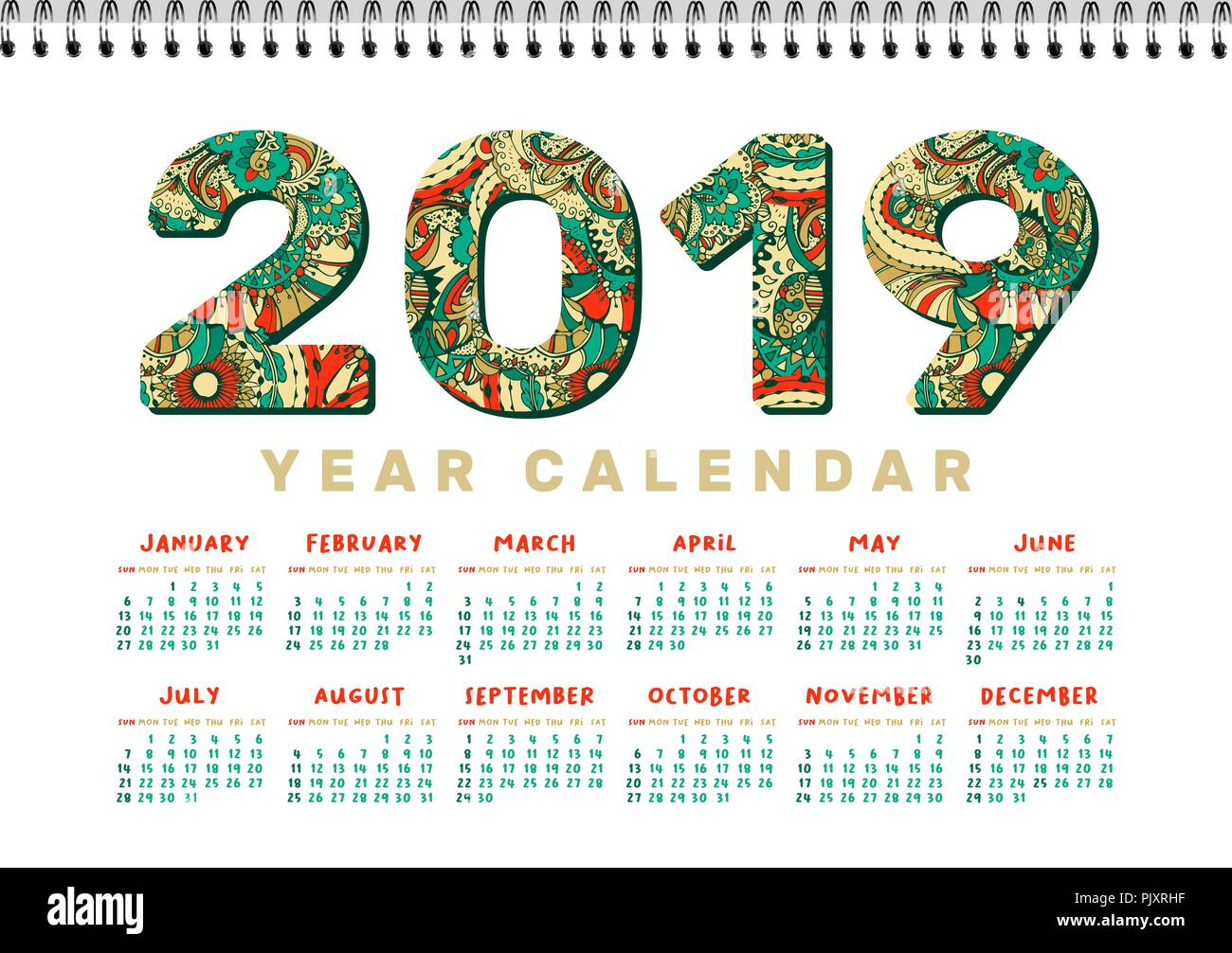 photo regarding Christmas Numbers Printable identify 2019 Table Calendar. Vector Horizontal a4 White Printable