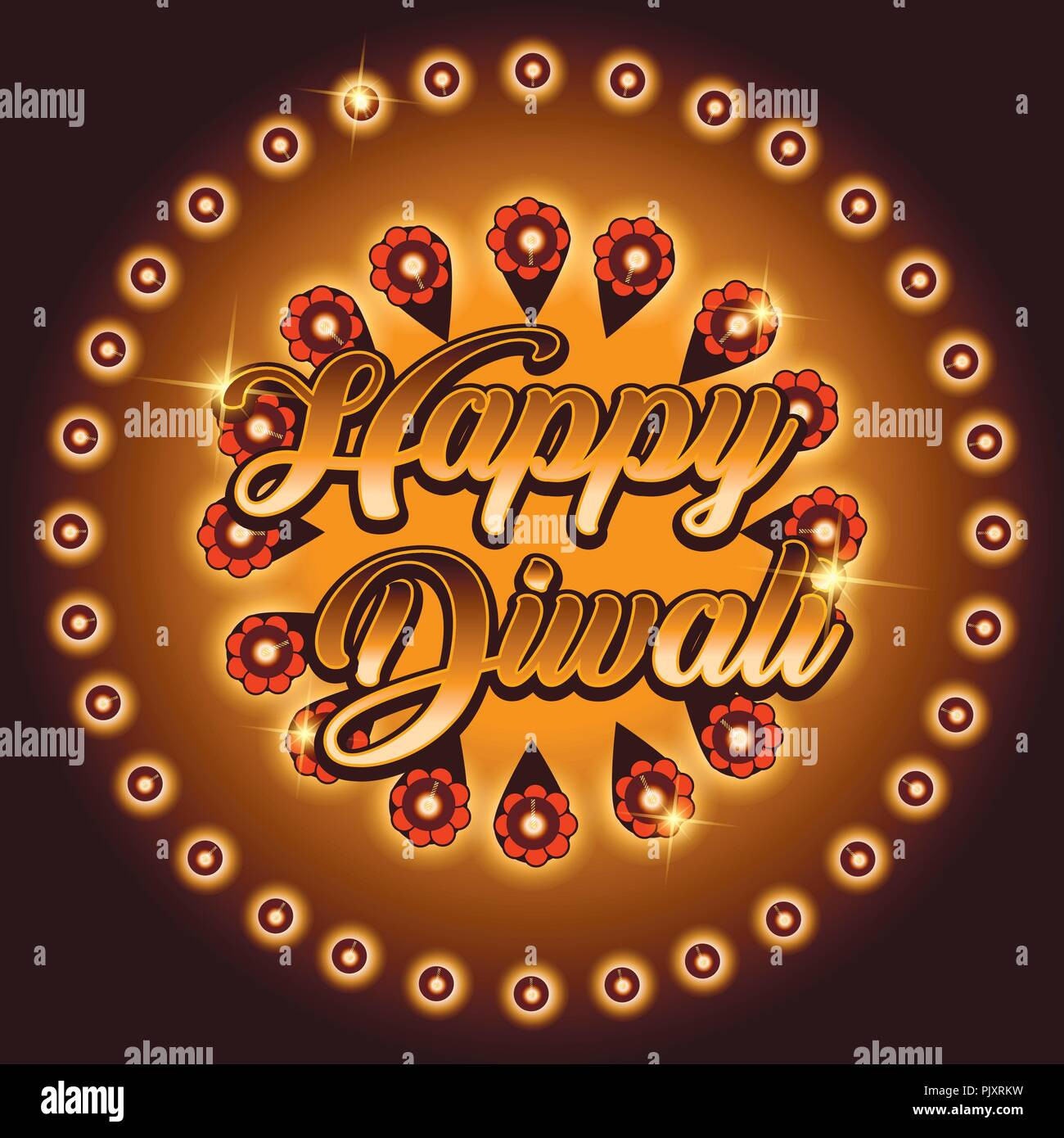 Beautiful Greeting Card For Festival Of Diwali Celebration With