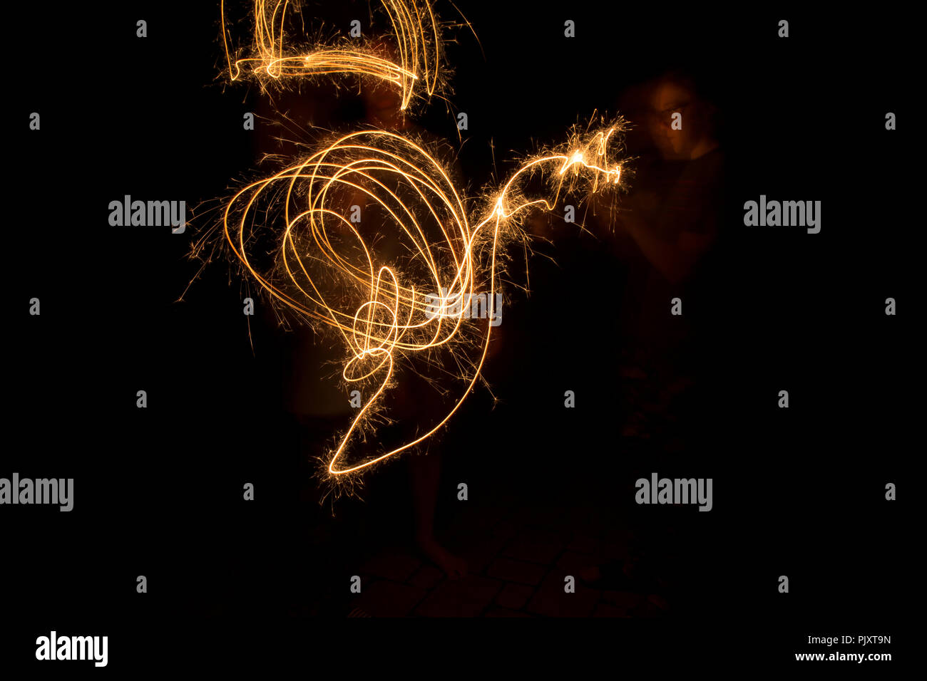 Fire works  long exposure - Stock Image